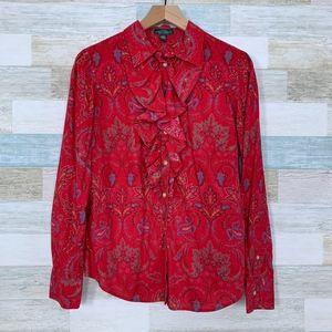 Ruffle Paisley Blouse Shirt Red LRL Ralph Lauren